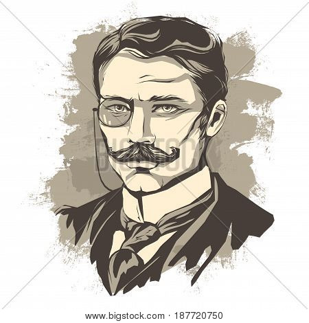 Vector graphic, retro portrait in vintage style gentleman with mustache and pince-nez