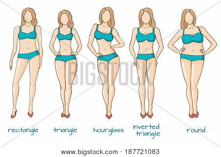 Female body figures. Woman shapes, five types hourglass, triangle, inverted triangle, rectangle, rounded Vector illustration