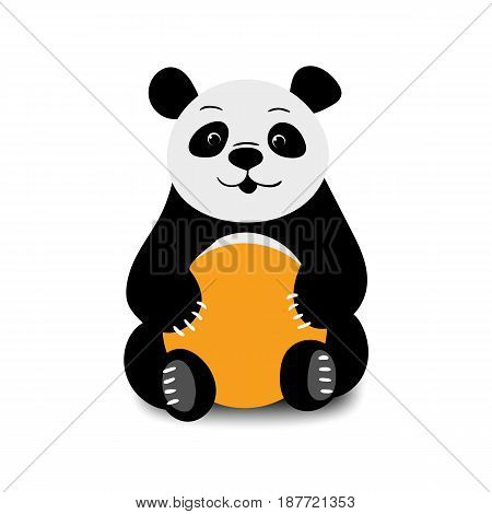 Baby funny cartoon bear panda sitting on a white background. Vector illustration.