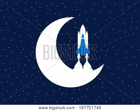 Space Shuttle And Moon. Outer Space. Vector Illustration