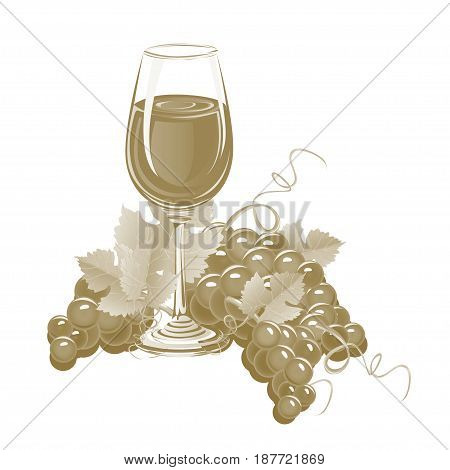 Glass of wine and a bunch of grapes. Vintage vector illustration.