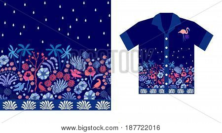 Tropical print with palms, flowers and birds on dark blue background. Beach textile collection.
