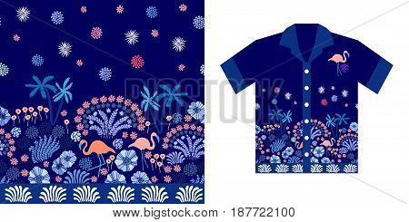 Tropical print with palms, flowers and flamingos on dark blue background. Beach textile collection.