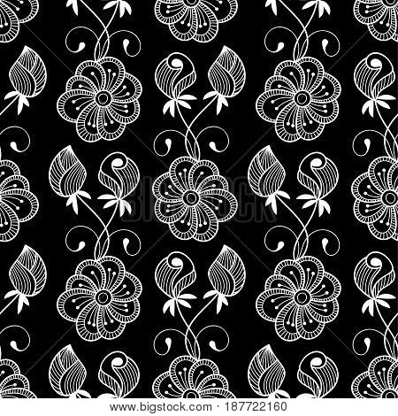 Seamless monochrome floral pattern. Hand drawn vector illustration