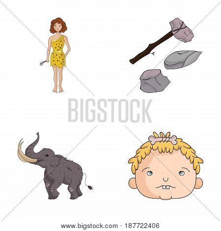 Weapon, hammer, elephant, mammoth .Stone age set collection icons in cartoon style vector symbol stock illustration .