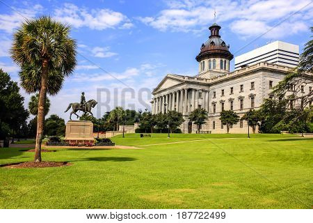 Columbia, SC, USA - 09/11/2016: The South Carolina State Capitol building in Columbia. Built in 1855 in the Greek Revival style.