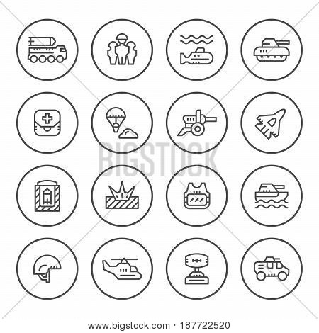 Set round line icons of army isolated on white. Vector illustration