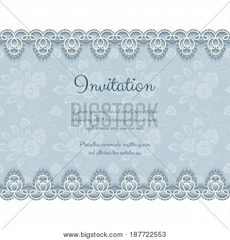 Elegant invitation or greeting card template with lace borders. Vector Illustration