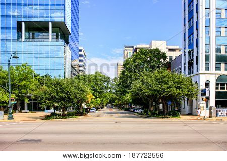 Columbia, SC, USA - 09/11/2016: Modern skyscrapers in the downtown area of Columbia the State Capital of South Carolina