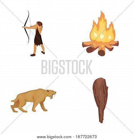 Man, hunter, onion, bonfire .Stone age set collection icons in cartoon style vector symbol stock illustration .