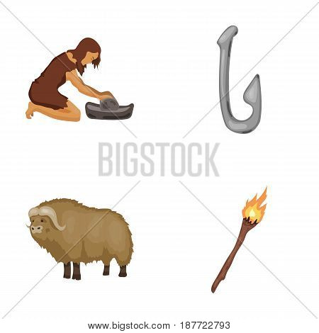 Cattle, catch, hook, fishing .Stone age set collection icons in cartoon style vector symbol stock illustration .