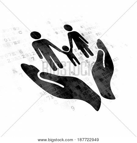 Insurance concept: Pixelated black Family And Palm icon on Digital background