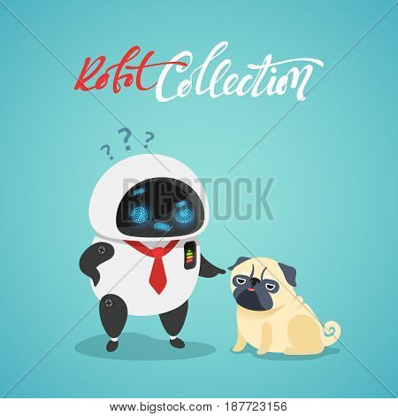 Character cute in flat style. Funny cartoon robot and dog.