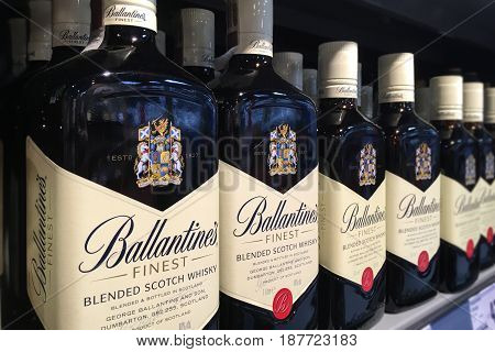 Nowy Sacz Poland - May 13 2017: Bottles of Ballantine's Finest Blended Scotch whisky on store shelves for sale in Kaufland Hypermarket.