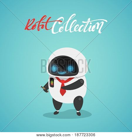 Character cute in flat style. Funny cartoon robot with phone.