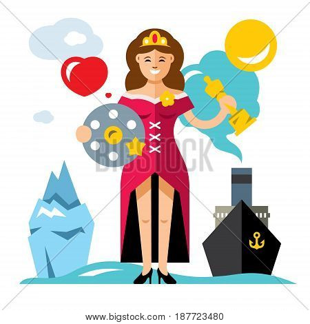Woman in dress with a Movie Film Reel and a gold statuette. Ship, iceberg. Isolated on a white background
