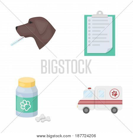 Hospital, veterinarian, dog, thermometer .Vet Clinic set collection icons in cartoon style vector symbol stock illustration .