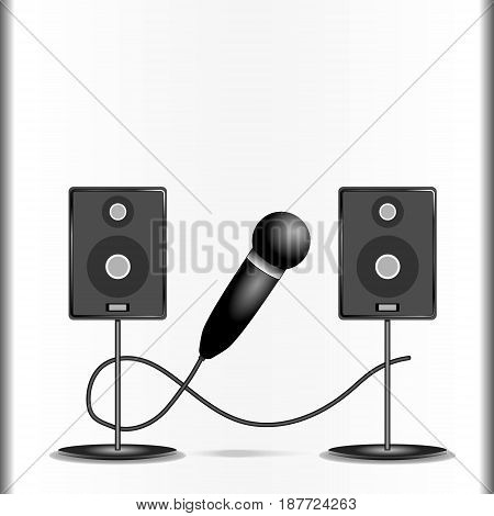 Vector illustration of a composition consisting of two columns in gray tones on supports and a black microphone with highlights and a wire between them on a gray background.