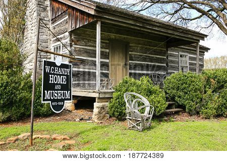 Florence, AL, USA - 04/04/2016: The wooden cabin birthplace of W.C. Handy the