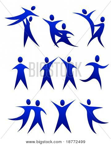 vector illustration of human figure dance movements