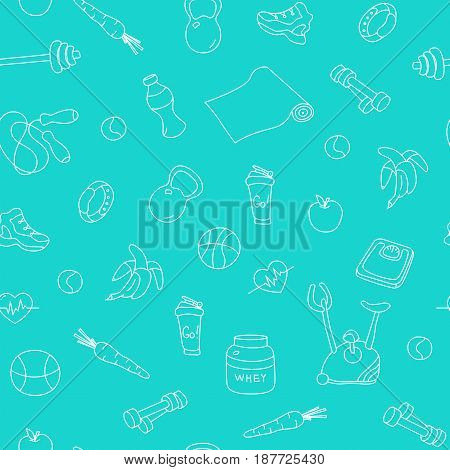 Seamless pattern with fitness doodles on blue background. Hand drawn tillable design for fabric, textile, wrapping paper. Sketchy gym equipment sneaker, dumbbell, mat, barbell, cycle, shaker, balls