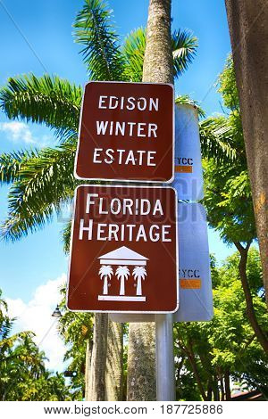 Fort Myers, FL, USA - 07/01/2016: Brown and white Florida Heritage sign outside the Edison & Ford Winter Estates in Fort Myers FL