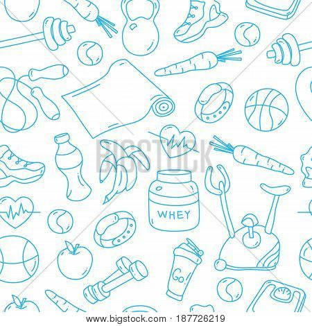Seamless pattern with isolated blue fitness doodles. Hand drawn tillable background for fabric, textile, wrapping paper. Gym equipment sneaker, dumbbell, mat, scales, barbell, cycle, shaker balls