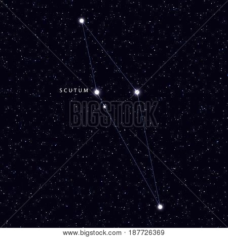 Sky Map with the name of the stars and constellations. Astronomical symbol constellation Scutum