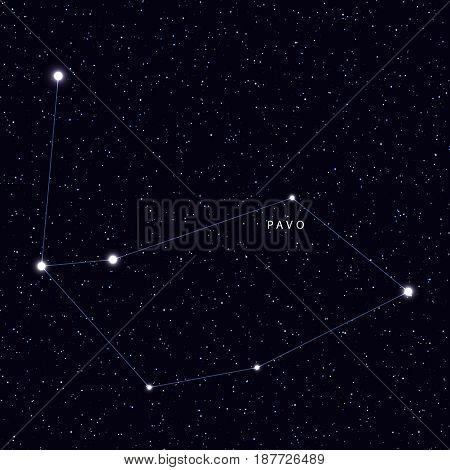 Sky Map with the name of the stars and constellations. Astronomical symbol constellation Pavo