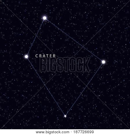 Sky Map with the name of the stars and constellations. Astronomical symbol constellation Crater