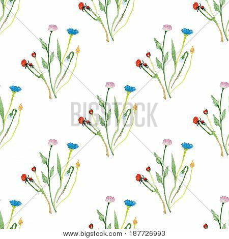 Seamless pattern made of hand-drawn watercolor wild flowers and herbs with colorful blossom isolated on white background