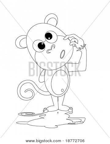 outline illustration of a dorky monkey