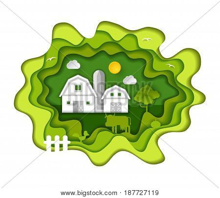 Paper art carving farm with barns, sun, clouds, birds, tree, cow, chicken, fence. Vector illustration in cut style. Farming, agricultural concept.