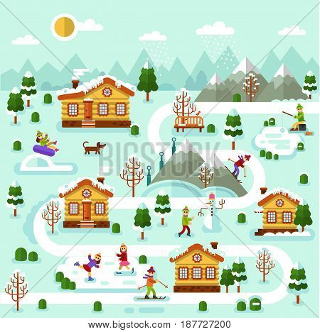 Flat design vector winter illustration of ski resort map. Included houses with icicles, rink, road, skiing and ice skating people, snowman, disability boy. Rest in the countryside.