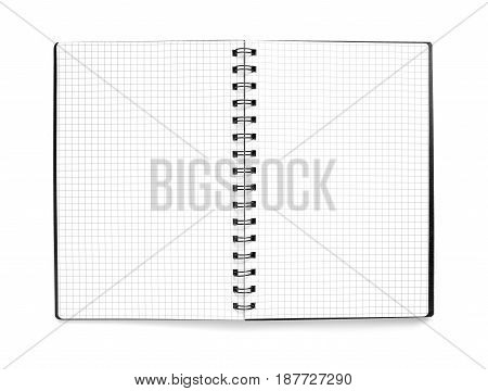 Black Notepad with a checkered sheets on white background