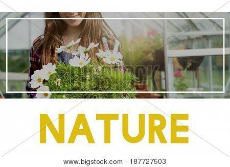 Beautiful life of woman gardening in nature