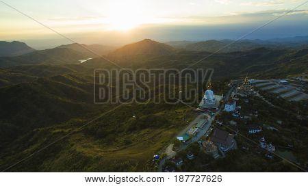 aerial view of wat phar sorn kaew most popular religion destination in petchabun northern of thailand