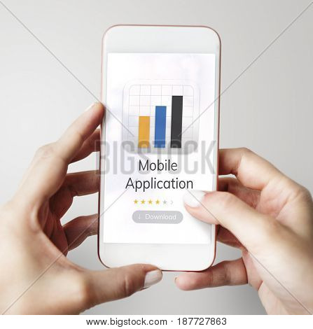 Illustration of mobile application graph download on mobile phone