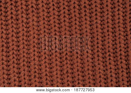Texture Of Knitted Brown Fabric Macro