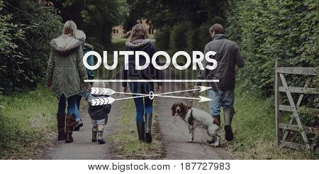 Family Outdoors Suburban Together Words
