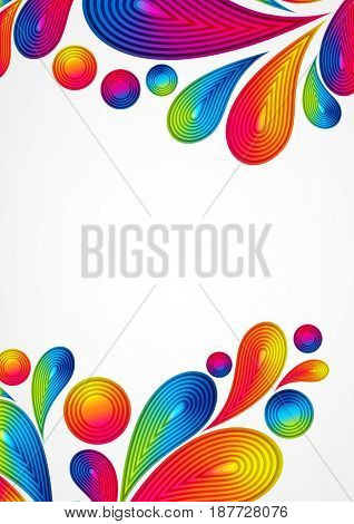 Colorful abstract background with striped drops splash, color design, graphic illustration. A4.