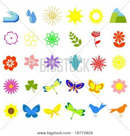 vector illustration of assorted floral and nature icons