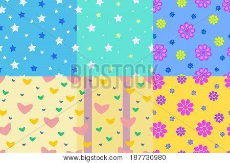 Set of Kid pattern seamless background for your children. Vector illustration
