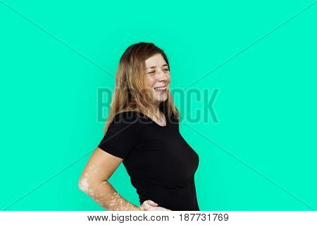 Adult Woman Face Smile Expression Studio Portrait