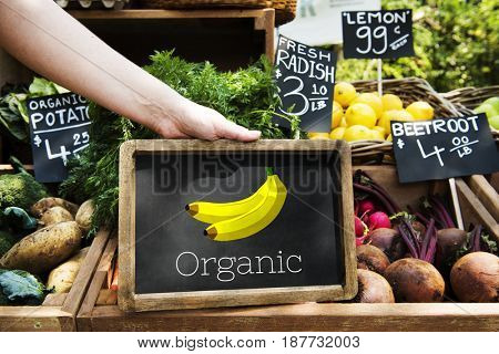 Illustration of fresh organic delicious banana on blackboard