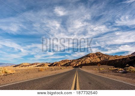 Open highway in Death Valley National Park, California, USA.