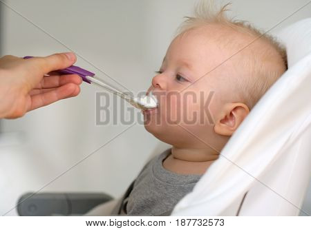 Feeding baby with a spoon