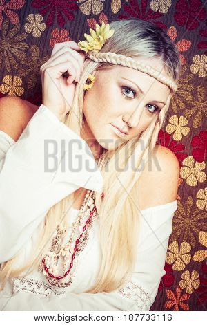 Beautiful blonde young hippie woman