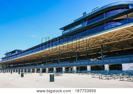Lexington, KY, USA - 09/14/2016: The East Grandstand at Keeneland racecourse in Lexington Kentucky