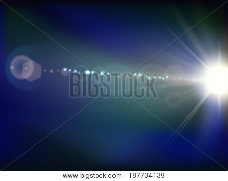 Abstract space flash flare blue background. Vector illustration